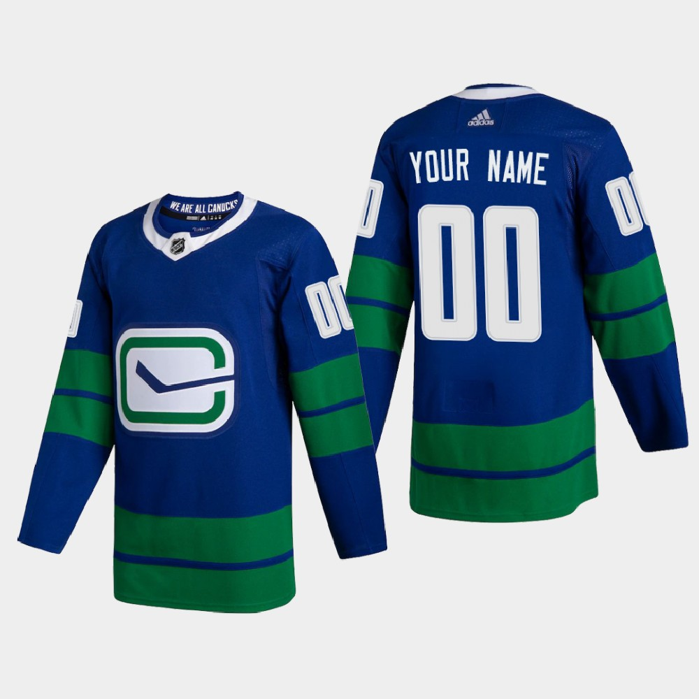 Wholesale Vancouver Canucks Custom Men Adidas 2020-21 Authentic Player Alternate Stitched NHL Jersey Blue
