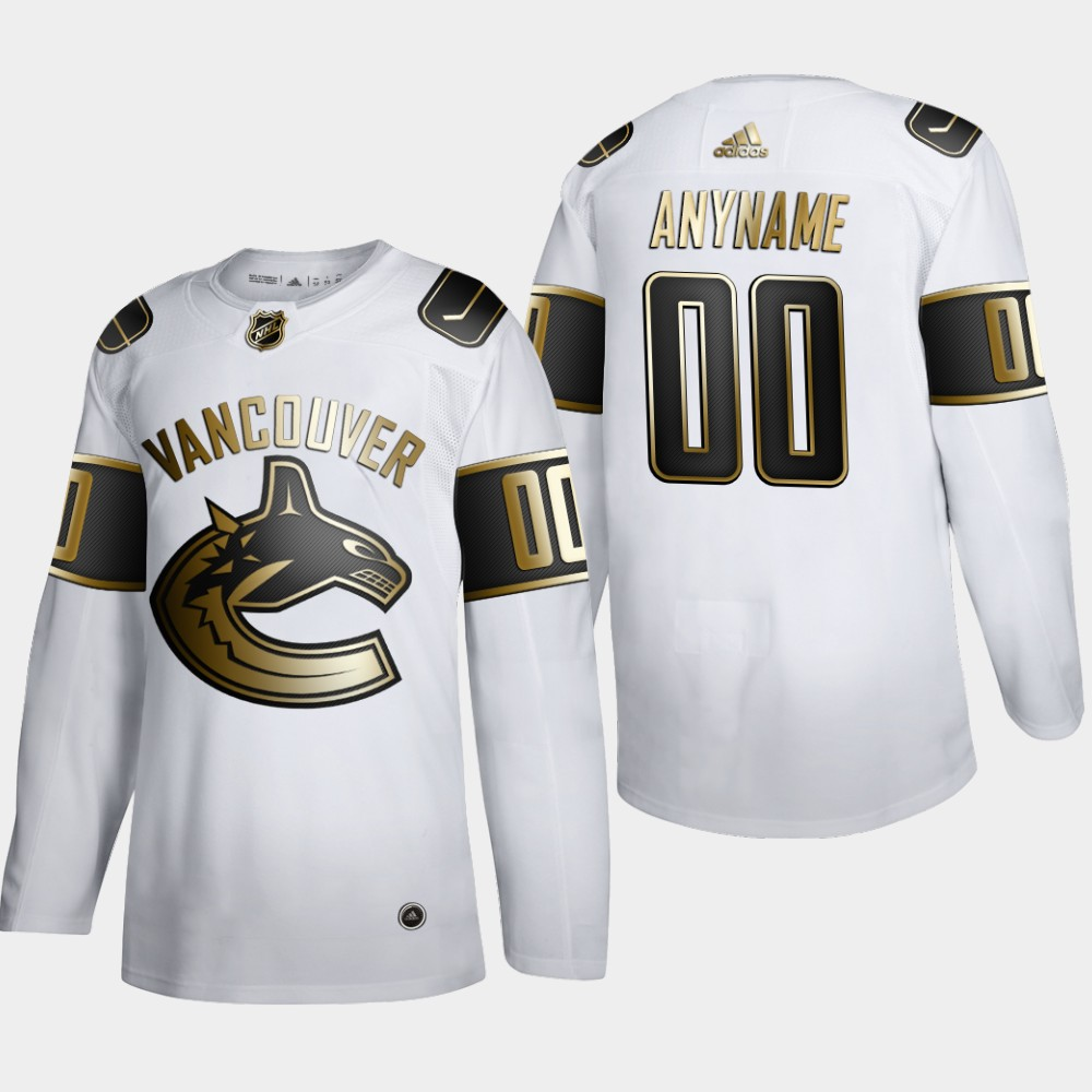 Cheap Vancouver Canucks Custom Men Adidas White Golden Edition Limited Stitched NHL Jersey