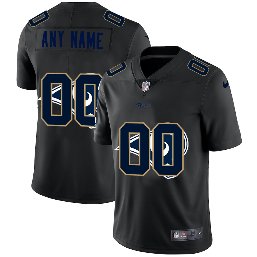 Wholesale Wholesale Los Angeles Rams Custom Men Nike Team Logo Dual Overlap Limited NFL Jersey Black