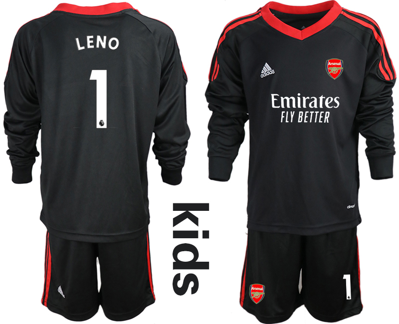 Cheap Youth 2020-2021 club Arsenal black long sleeved Goalkeeper 1 Soccer Jerseys