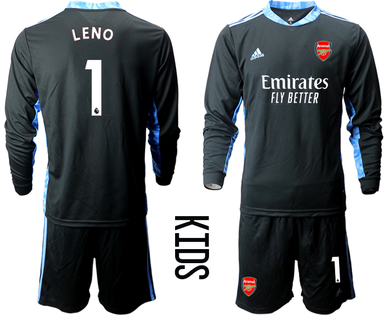 Cheap Youth 2020-2021 club Arsenal black long sleeved Goalkeeper 1 Soccer Jerseys2