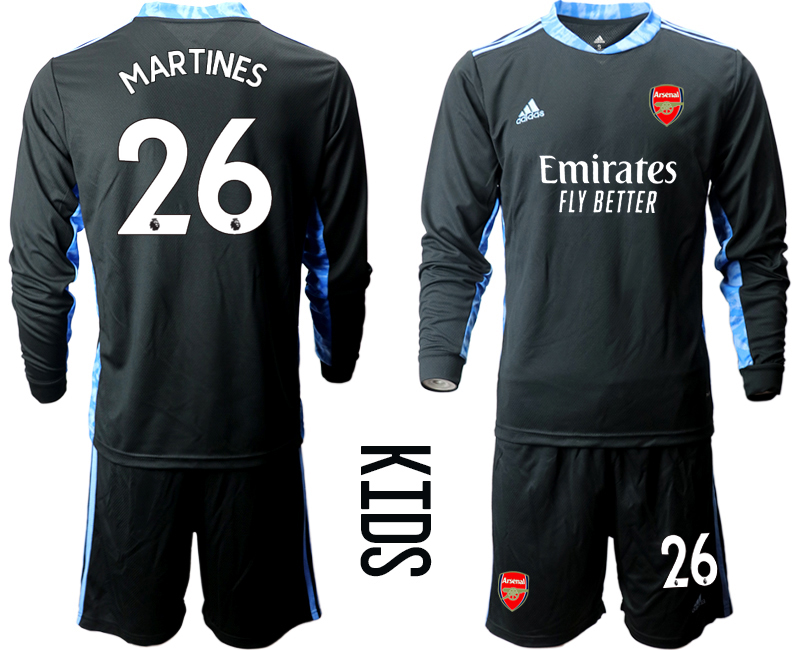 Cheap Youth 2020-2021 club Arsenal black long sleeved Goalkeeper 26 Soccer Jerseys2