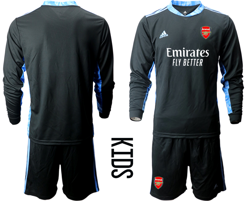 Cheap Youth 2020-2021 club Arsenal black long sleeved Goalkeeper blank Soccer Jerseys2