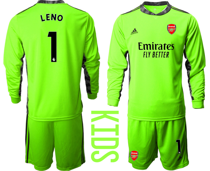 Cheap Youth 2020-2021 club Arsenal green long sleeved Goalkeeper 1 Soccer Jerseys