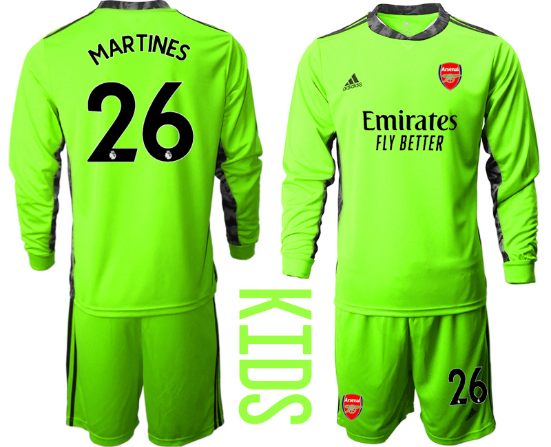 Cheap Youth 2020-2021 club Arsenal green long sleeved Goalkeeper 26 Soccer Jerseys