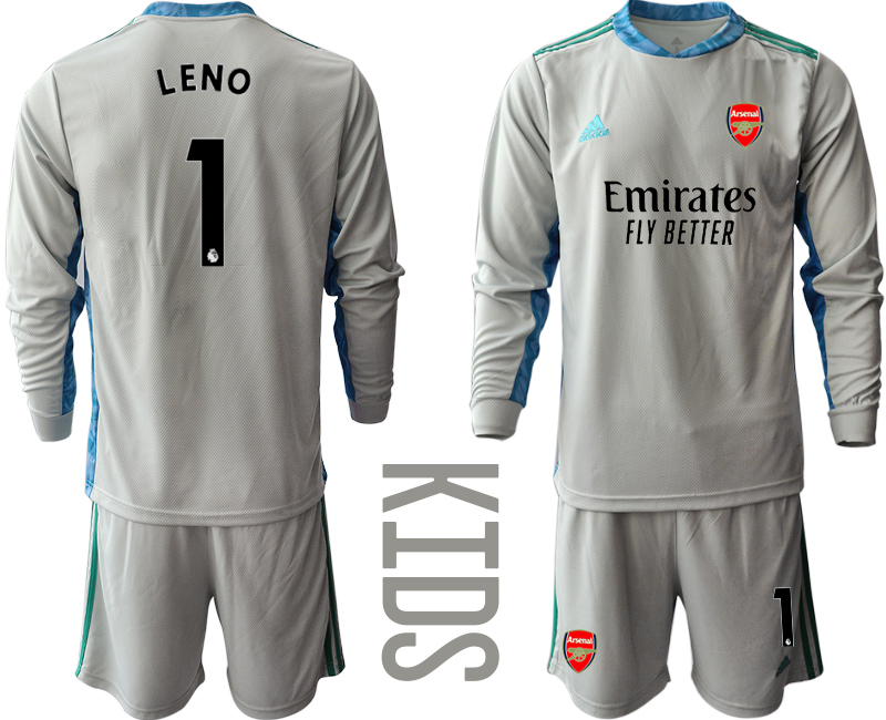 Cheap Youth 2020-2021 club Arsenal grey long sleeved Goalkeeper 1 Soccer Jerseys