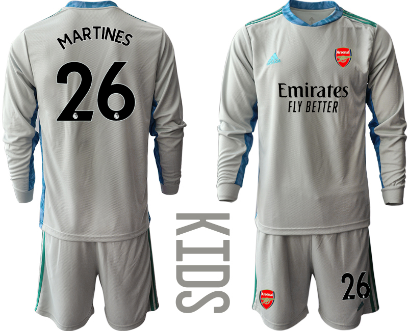 Cheap Youth 2020-2021 club Arsenal grey long sleeved Goalkeeper 26 Soccer Jerseys