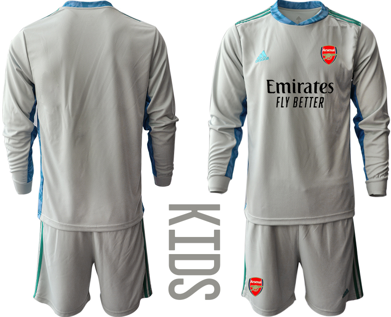 Cheap Youth 2020-2021 club Arsenal grey long sleeved Goalkeeper blank Soccer Jerseys