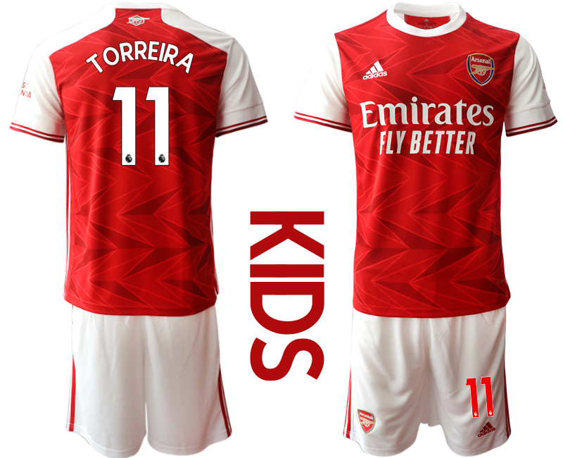 Wholesale Youth 2020-2021 club Arsenal home 11 red Soccer Jerseys