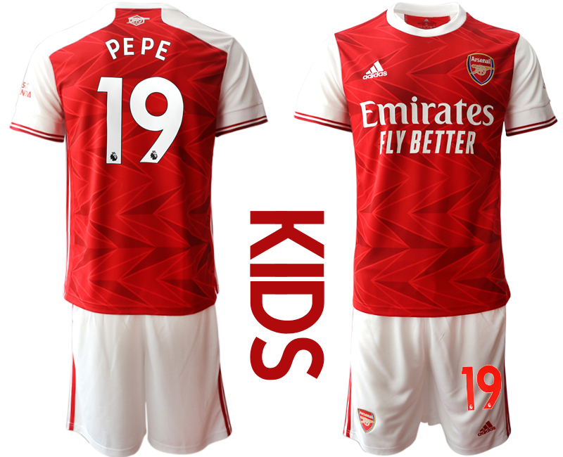 Wholesale Youth 2020-2021 club Arsenal home 19 red Soccer Jerseys