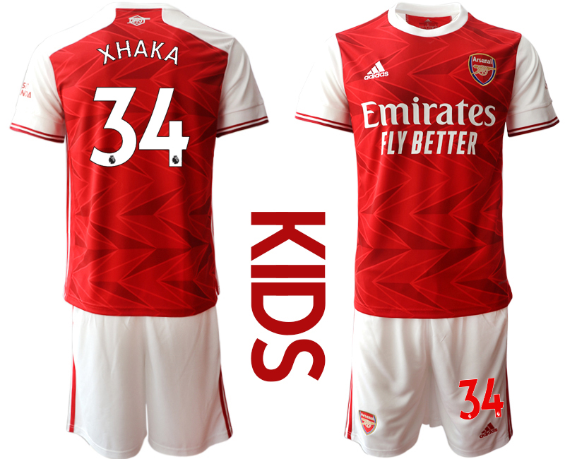 Wholesale Youth 2020-2021 club Arsenal home 34 red Soccer Jerseys
