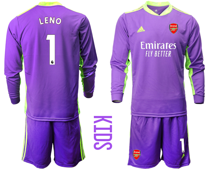 Cheap Youth 2020-2021 club Arsenal purple long sleeved Goalkeeper 1 Soccer Jerseys