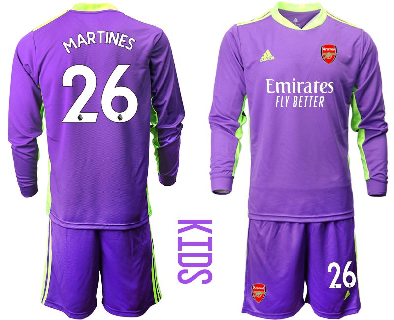 Cheap Youth 2020-2021 club Arsenal purple long sleeved Goalkeeper 26 Soccer Jerseys