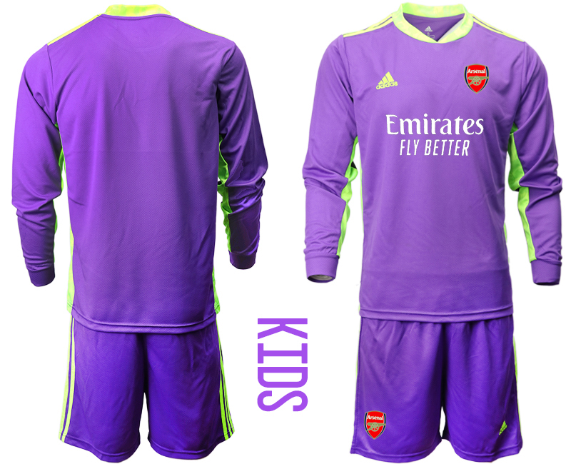 Cheap Youth 2020-2021 club Arsenal purple long sleeved Goalkeeper blank Soccer Jerseys