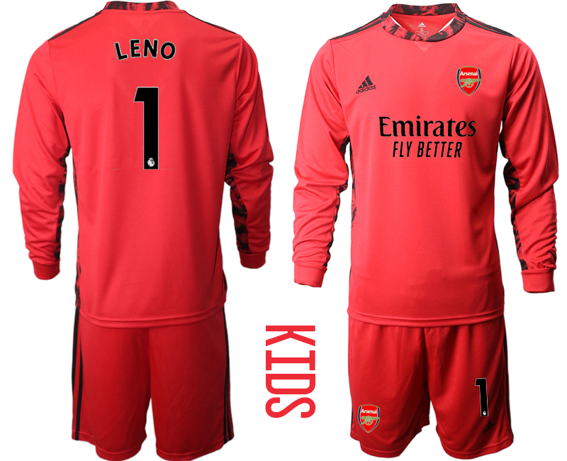 Cheap Youth 2020-2021 club Arsenal red long sleeved Goalkeeper 1 Soccer Jerseys