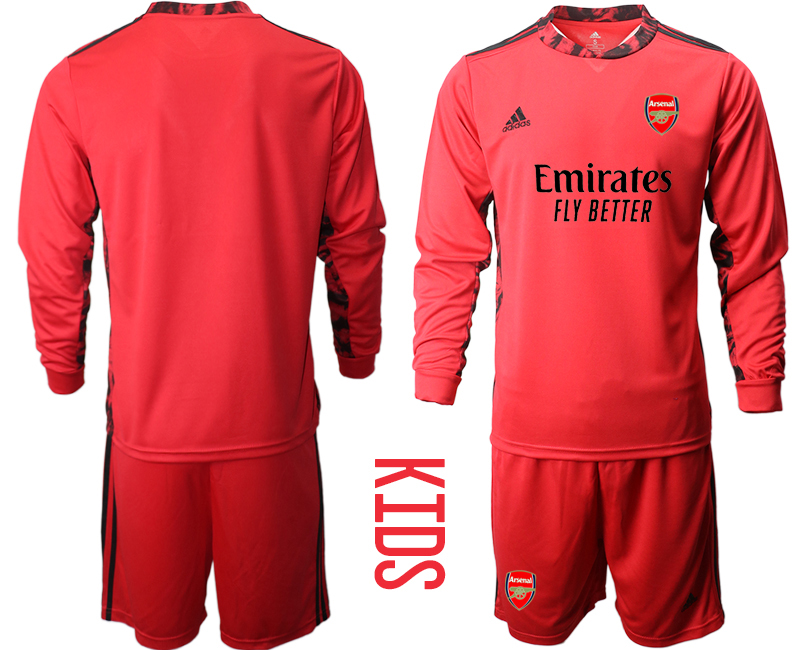 Cheap Youth 2020-2021 club Arsenal red long sleeved Goalkeeper blank Soccer Jerseys
