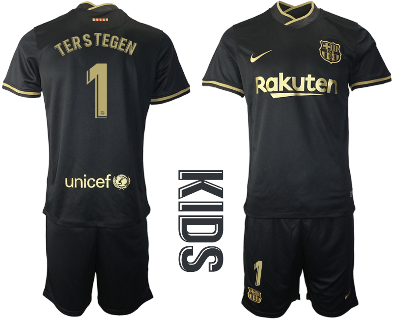 Wholesale Youth 2020-2021 club Barcelona away 1 black Soccer Jerseys