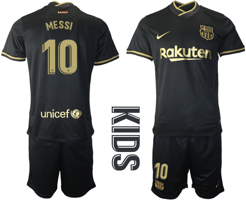 Wholesale Youth 2020-2021 club Barcelona away 10 black Soccer Jerseys