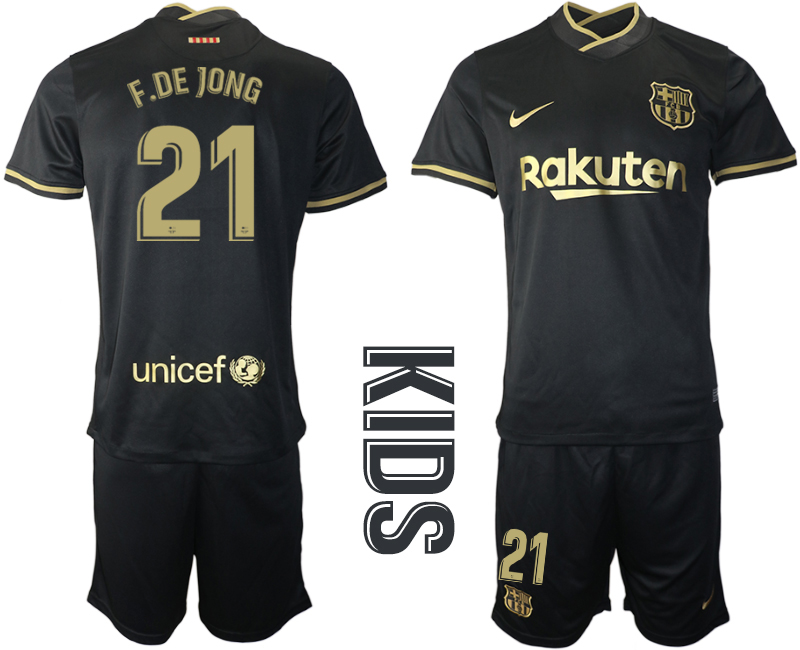 Wholesale Youth 2020-2021 club Barcelona away 21 black Soccer Jerseys