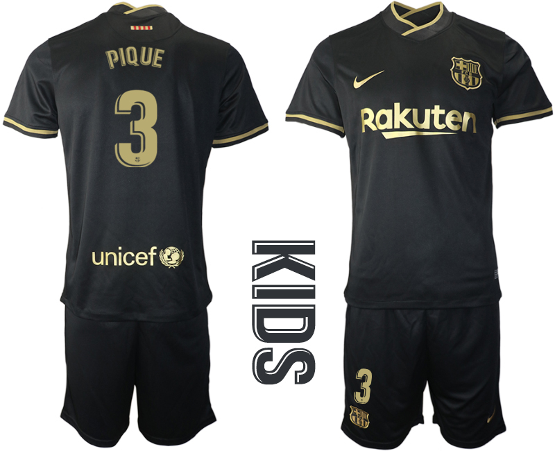 Wholesale Youth 2020-2021 club Barcelona away 3 black Soccer Jerseys