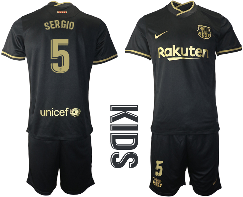 Wholesale Youth 2020-2021 club Barcelona away 5 black Soccer Jerseys