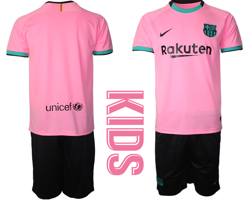 Wholesale Youth 2020-2021 club Barcelona away blank pink Soccer Jerseys