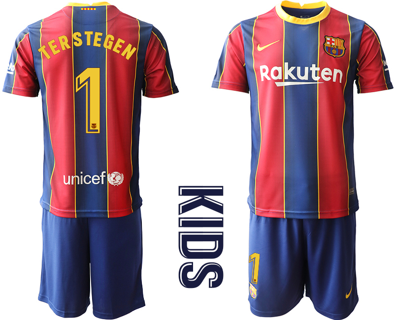 Wholesale Youth 2020-2021 club Barcelona home 1 red Soccer Jerseys