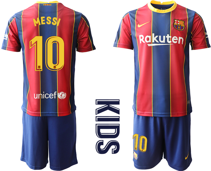Wholesale Youth 2020-2021 club Barcelona home 10 red Soccer Jerseys