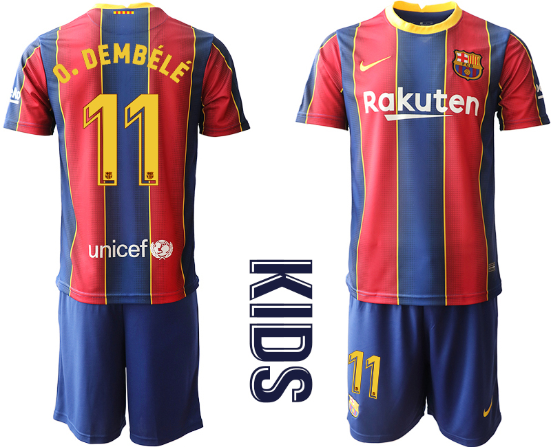 Wholesale Youth 2020-2021 club Barcelona home 11 red Soccer Jerseys