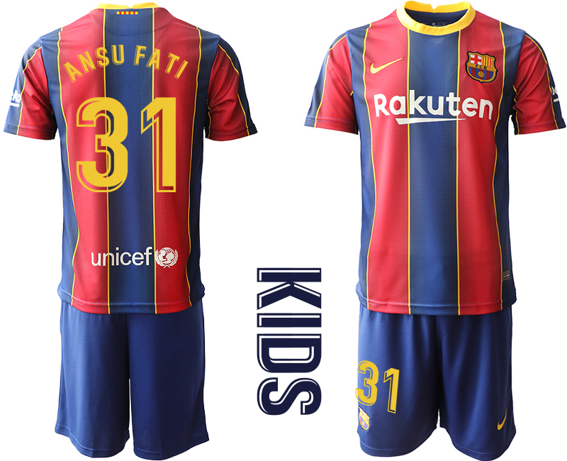 Wholesale Youth 2020-2021 club Barcelona home 31 red Soccer Jerseys