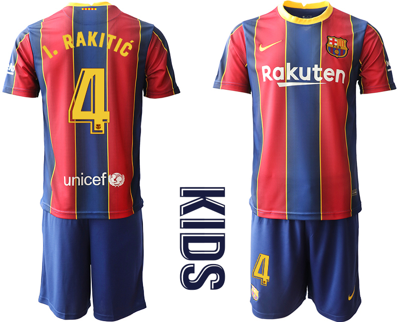 Wholesale Youth 2020-2021 club Barcelona home 4 red Soccer Jerseys