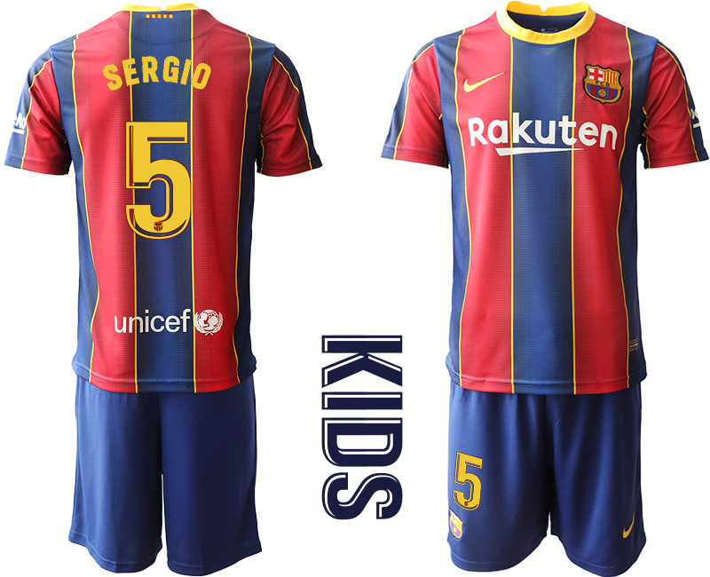 Wholesale Youth 2020-2021 club Barcelona home 5 red Soccer Jerseys