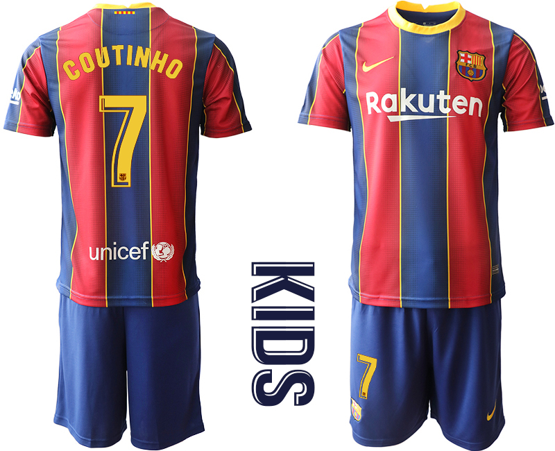 Wholesale Youth 2020-2021 club Barcelona home 7 red Soccer Jerseys