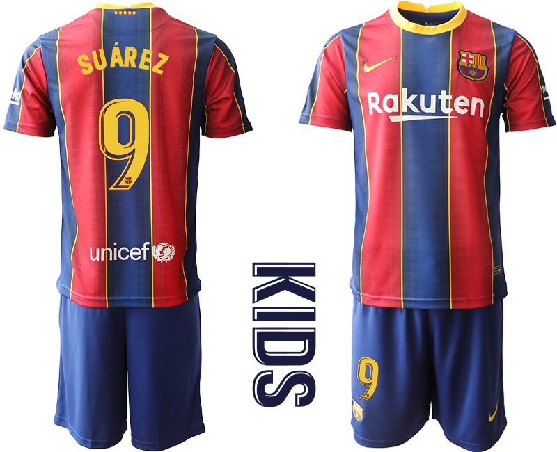 Wholesale Youth 2020-2021 club Barcelona home 9 red Soccer Jerseys