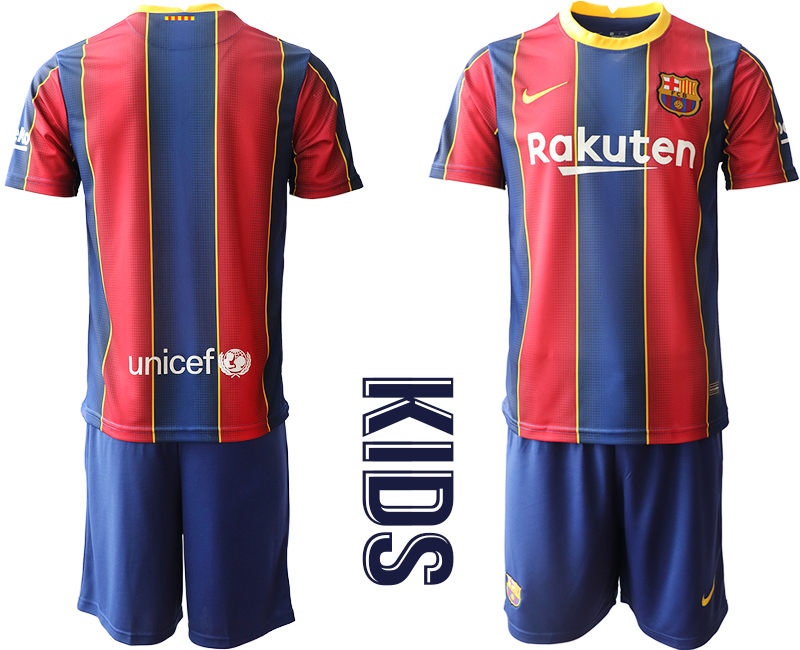 Wholesale Youth 2020-2021 club Barcelona home blank red Soccer Jerseys
