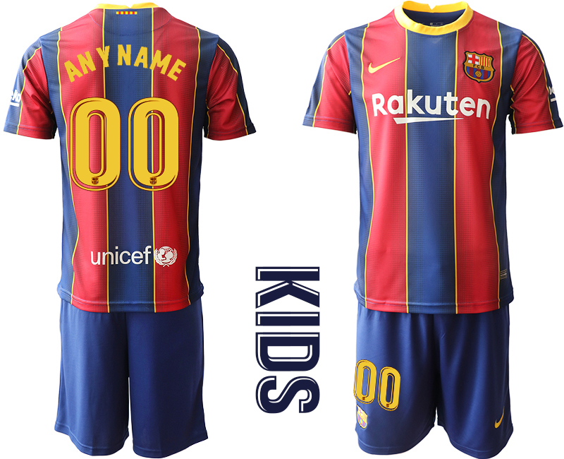 Wholesale Youth 2020-2021 club Barcelona home customized red Soccer Jerseys