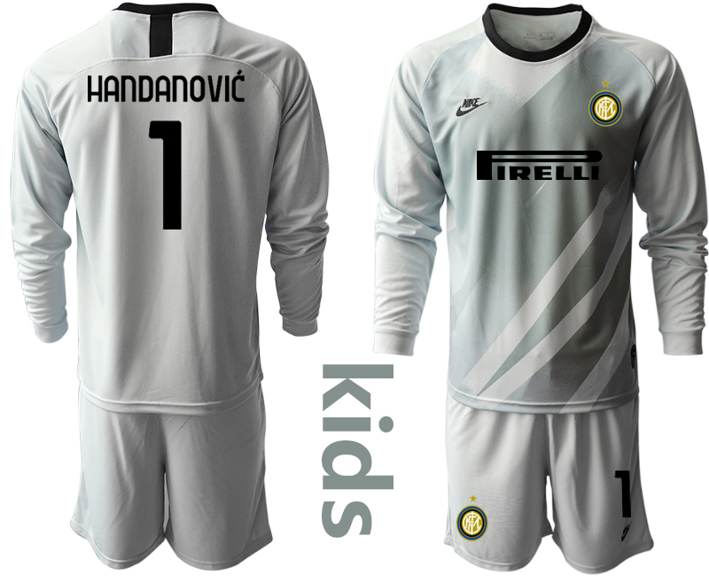 Wholesale Youth 2020-2021 club Inter Milan grey long sleeved Goalkeeper 1 Soccer Jerseys