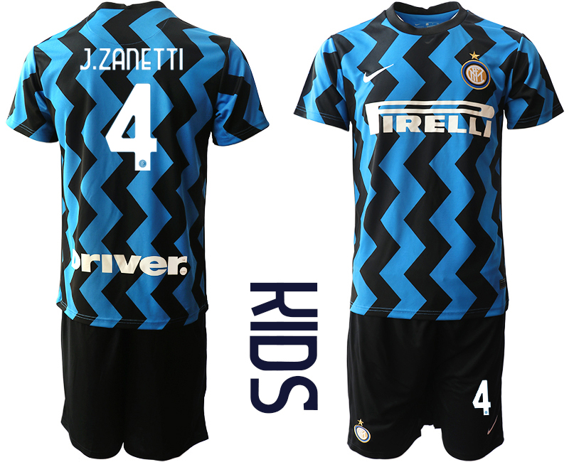 Cheap Youth 2020-2021 club Inter Milan home 4 blue Soccer Jerseys