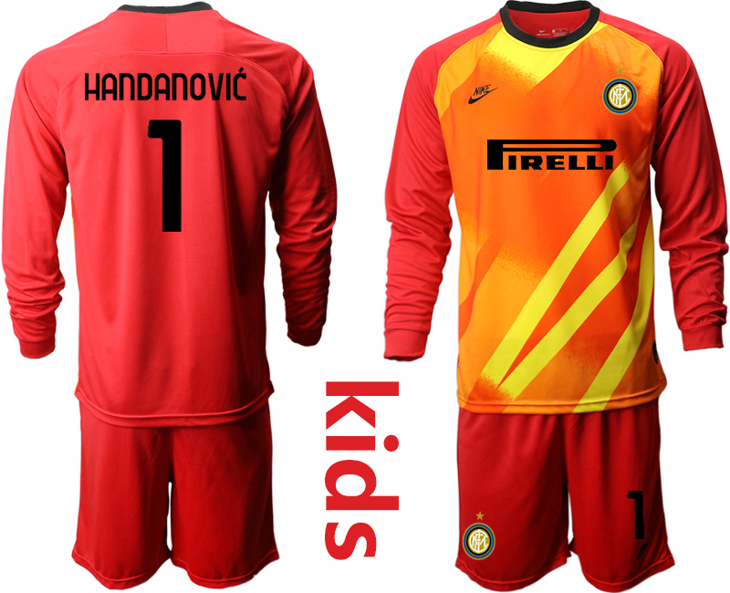Wholesale Youth 2020-2021 club Inter Milan red long sleeved Goalkeeper 1 Soccer Jerseys
