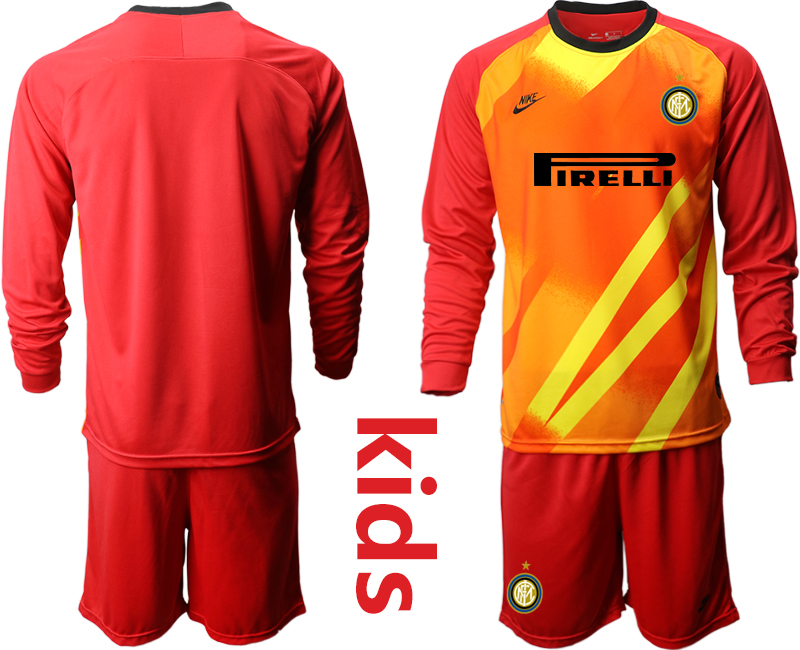 Wholesale Youth 2020-2021 club Inter Milan red long sleeved Goalkeeper blank Soccer Jerseys