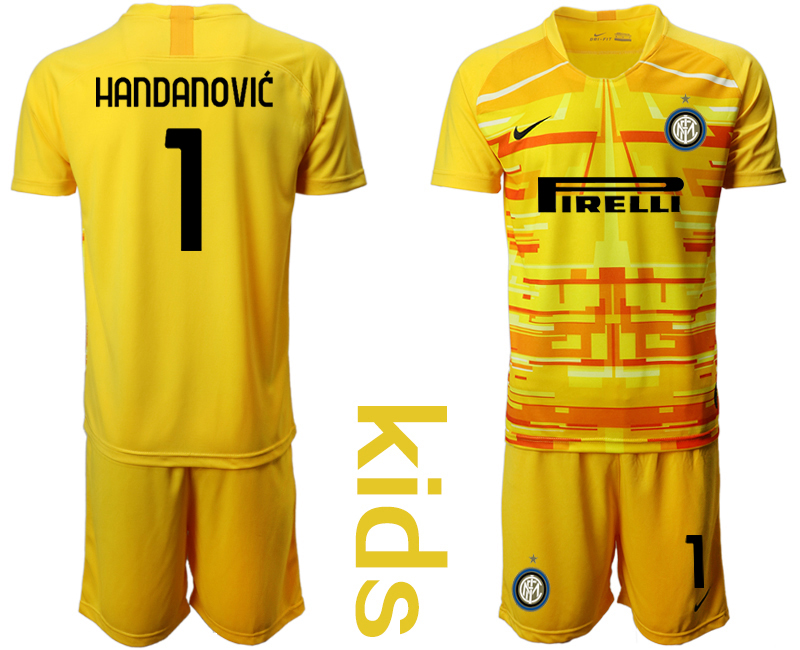 Cheap Youth 2020-2021 club Inter Milan yellow goalkeeper 1 Soccer Jerseys