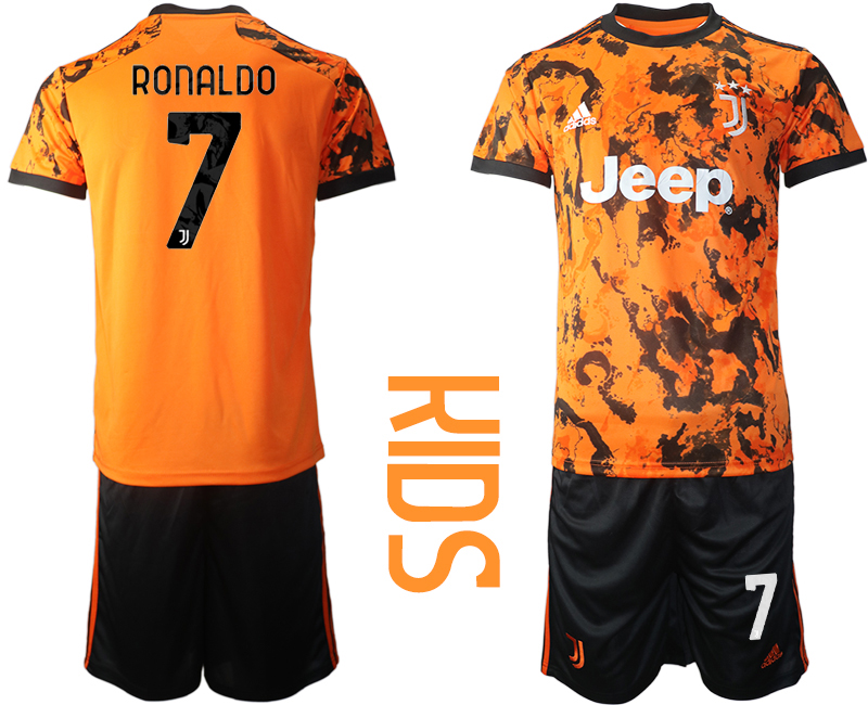 Youth 2020-2021 club Juventus away orange 7 Soccer Jerseys