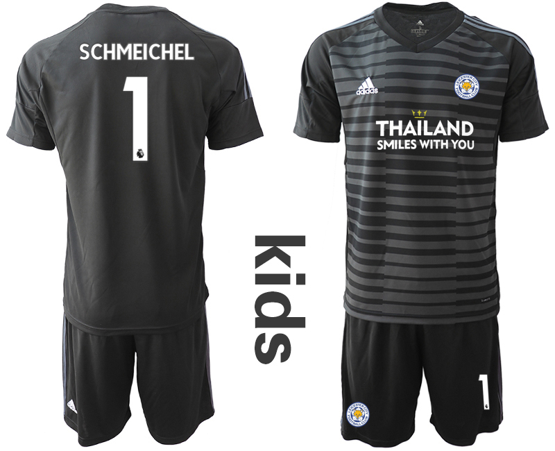 Wholesale Youth 2020-2021 club Leicester City black goalkeeper 1 Soccer Jerseys
