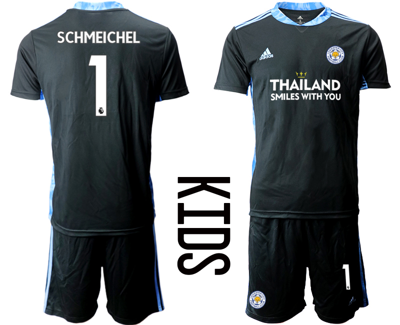 Wholesale Youth 2020-2021 club Leicester City black goalkeeper 1 Soccer Jerseys1