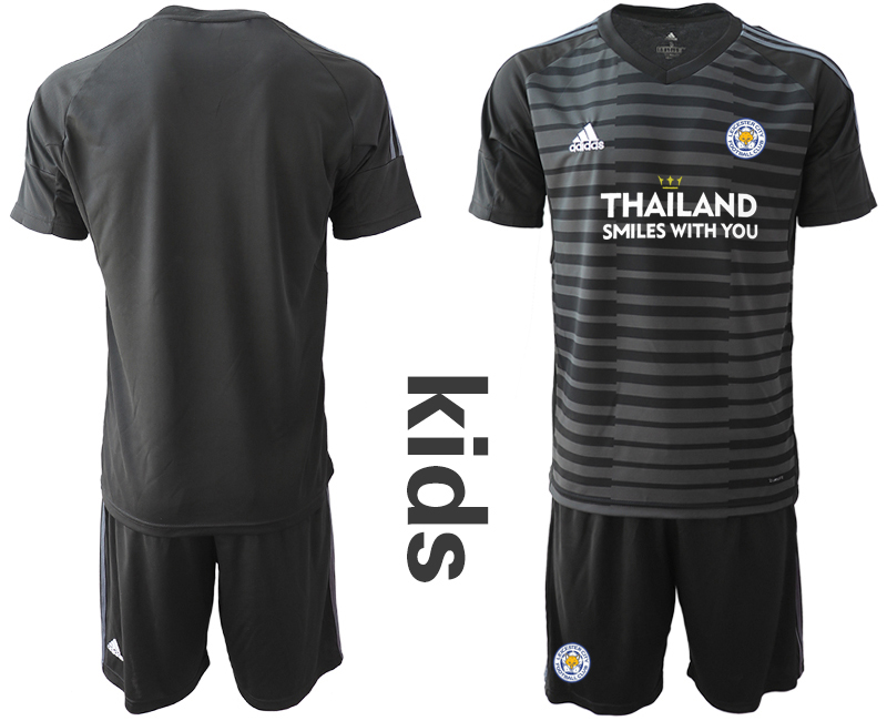 Wholesale Youth 2020-2021 club Leicester City black goalkeeper blank Soccer Jerseys