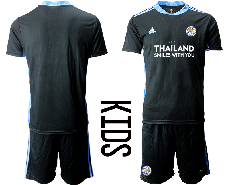 Wholesale Youth 2020-2021 club Leicester City black goalkeeper blank Soccer Jerseys1