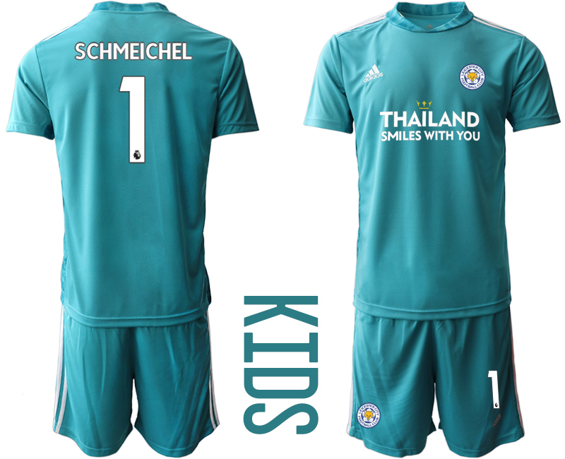 Wholesale Youth 2020-2021 club Leicester City blue goalkeeper 1 Soccer Jerseys