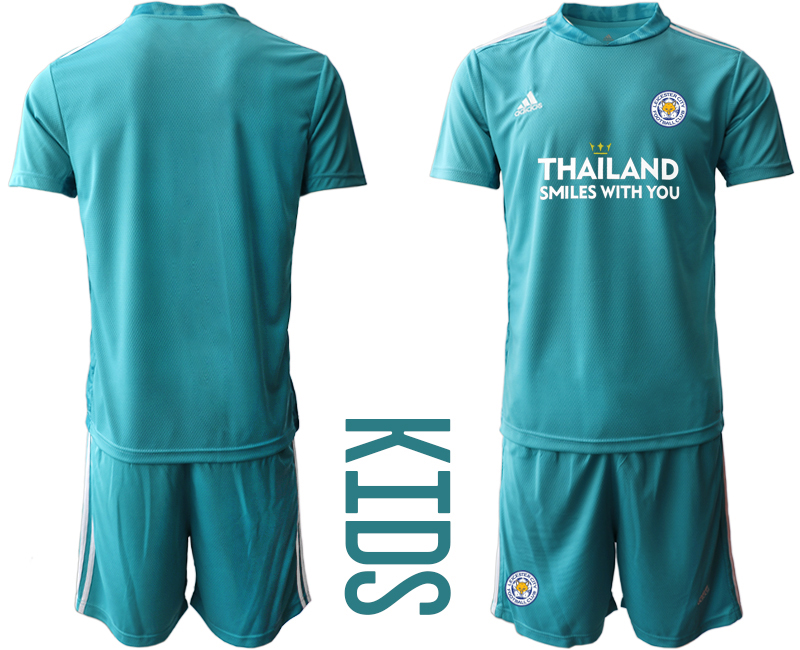 Wholesale Youth 2020-2021 club Leicester City blue goalkeeper blank Soccer Jerseys
