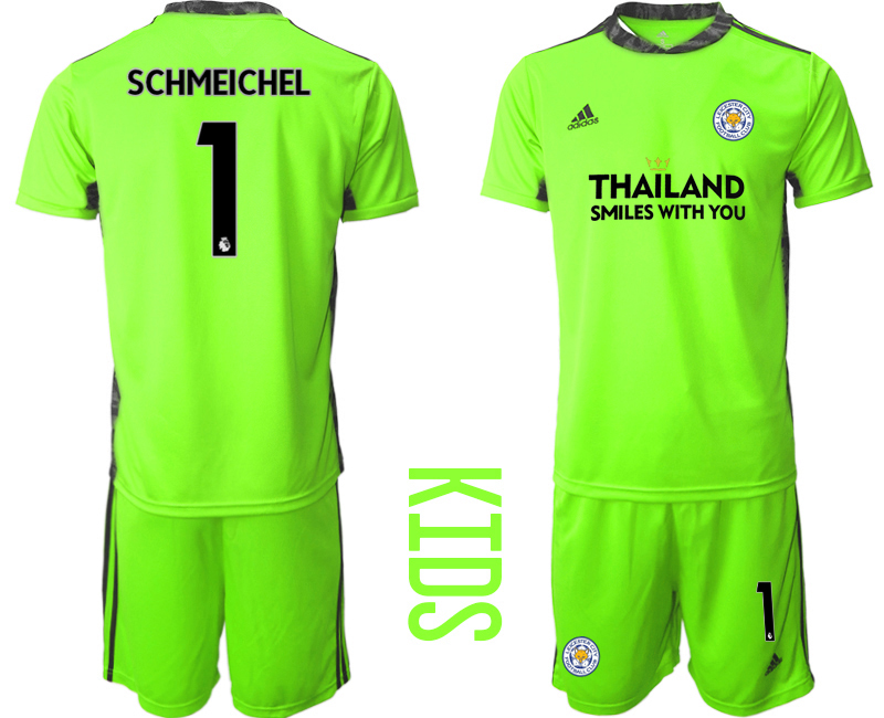 Wholesale Youth 2020-2021 club Leicester City green goalkeeper 1 Soccer Jerseys