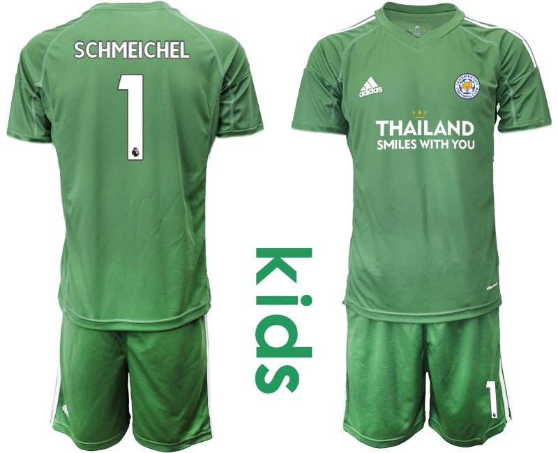 Wholesale Youth 2020-2021 club Leicester City green goalkeeper 1 Soccer Jerseys1